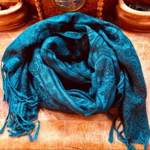 ❄️Beautiful long scarf,Wrap scarf,Blue green scarf